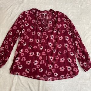 ✨Lucky Brand Red Floral Cold Shoulder Blouse✨